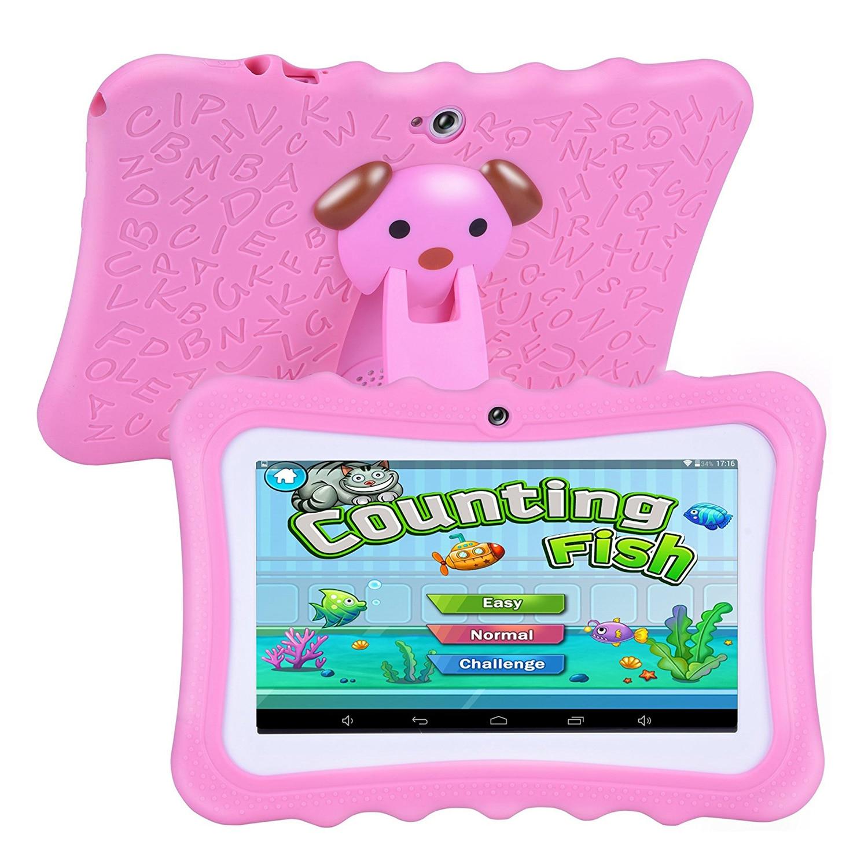 Machine d'apprentissage pour enfants tablette meilleur cadeau pour les enfants 7 pouces HD avec coque en silicone charge USB (Quad Core, 8 GB, Wifi et bleu - 6