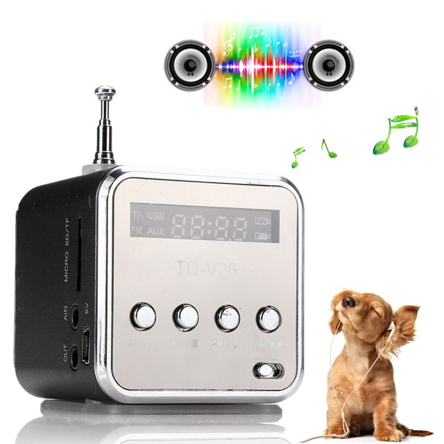 Portable Mini Speaker MP4 MP3 Music Player with LCD Support FM Radio Micro TF SD Stereo Loudspeaker for Laptop Phone