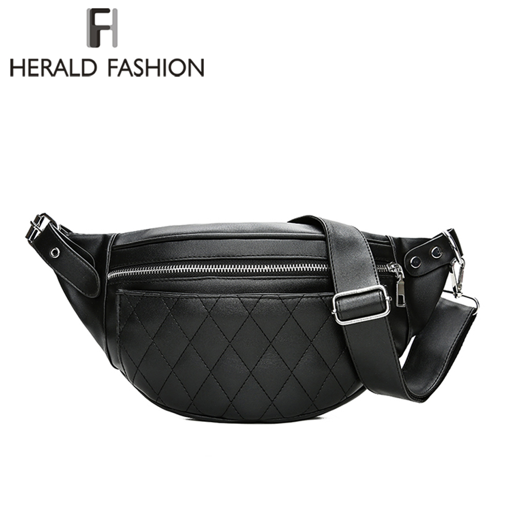 Herald Fashion Women Leather Waist Belt Bag Plaid Pattern Belt Pack Waist Bag Small Women Bag Travel Bag Waist Pack Bolsas цена 2017