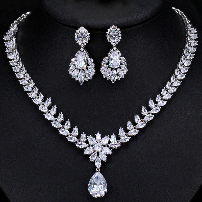 2019 nouveau luxe marquise 925 en argent sterling mariage dubaï mariée pour les femmes dame anniversaire cadeau bijoux en gros J5180