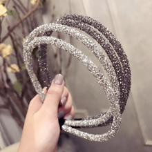 Korean Full Drilling Double Thin Hairband Women Girls Hair Head Hoop Bands Accessories For Girls Hair Scrunchy Headdress full drilling double thin headband for women fashion glitter hairband hair hoop korean girls hair accessories headwear