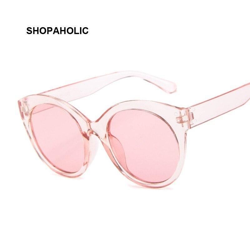 نظارة شمسية بتصميم كلاسيكي على شكل عين القطة باللون الوردي للنساء نظارة شمسية مستديرة بإطار مرآة من علامة تجارية مصممة للسيدات UV400