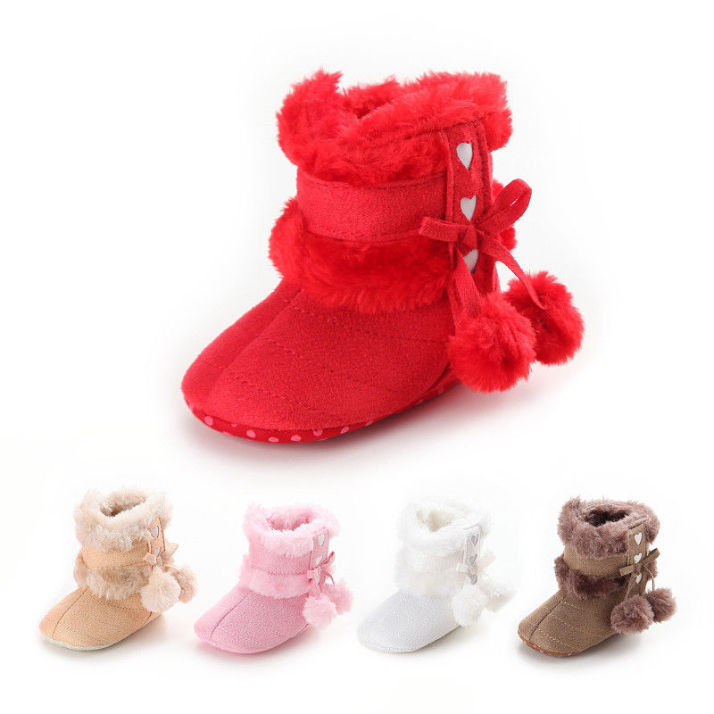 Newborn Baby Winter Warm Boots Princess Cute Girls Boys Boots Booties With Ball Infant Toddler Fur Snow Anti-Slip Slippers