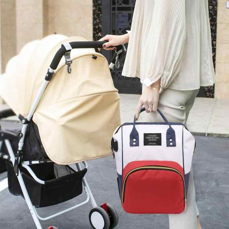 2 pçs/set mummy usb mochila de viagem grande capacidade de cuidados com o bebê saco fralda enfermagem bolsa embreagem à prova dwaterproof água ocasional portátil