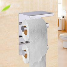 Double Layer Toilet Roll Paper Holder w/ Storage Shelf Rack Stainless Steel Tissue Boxes Towel WC Phone