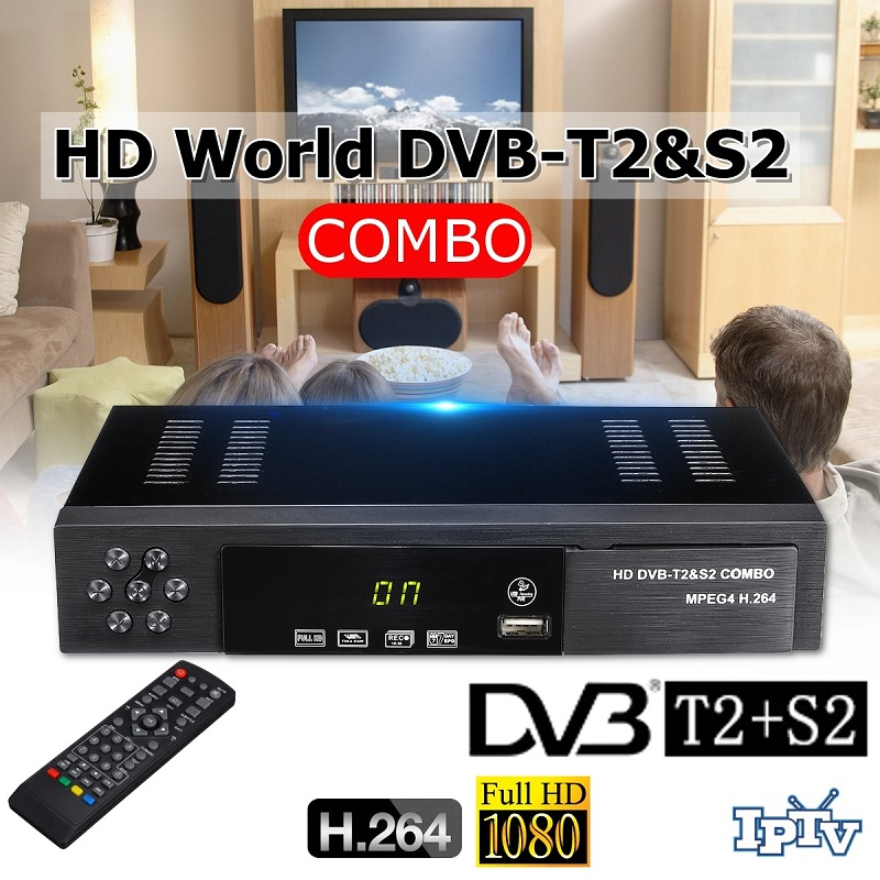 USB 2.0 DVB S2 T2 TV Tuner DVB-S2 DVB-T2 Combo Receiver Set Top Box Full-HD Digital Smart TV Box MPEG4 Support Wifi Antenna
