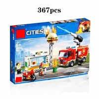 2019 nova cidade burger bar incêndio resgate 60214 blocos de construção compatível legoing cityo bombeiro figuras crianças brinquedos presente