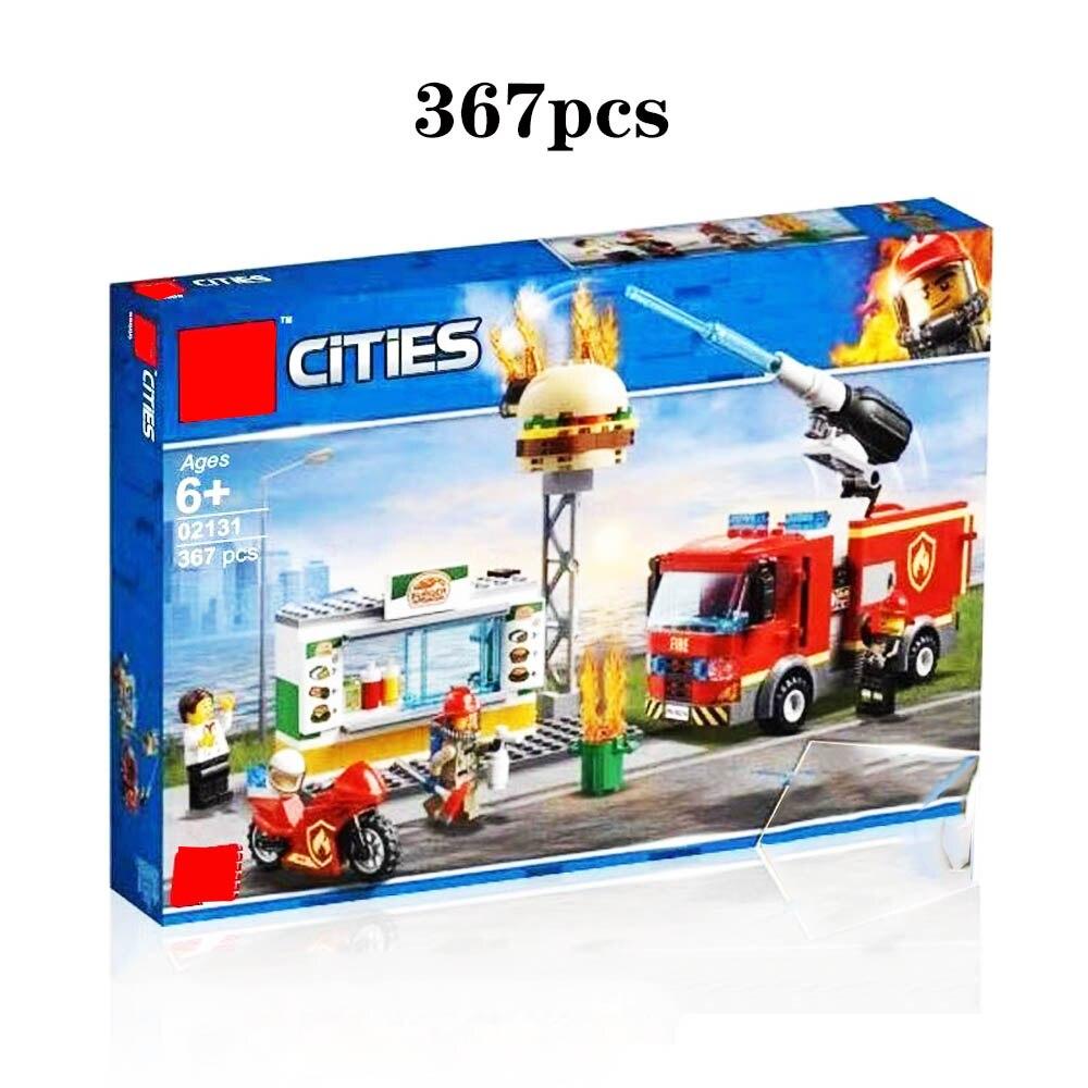 2019 nueva ciudad hamburguesa Bar Fire Rescue 60214 bloques de construcción compatibles Legoing Cityo figuras de bombero niños juguetes regalo 312 piezas 4in1 la Policía Marina edificio bloques legoing ciudad barco helicóptero policías figuras modelo ladrillos juguetes para los niños