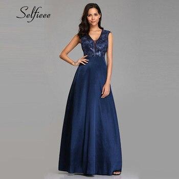 d4d4d127a Azul Marino vestido largo vestido para Fiesta De boda para mujer 2019  Vestidos De Fiesta De una línea elegante cuello en V apliques De  lentejuelas vestido ...