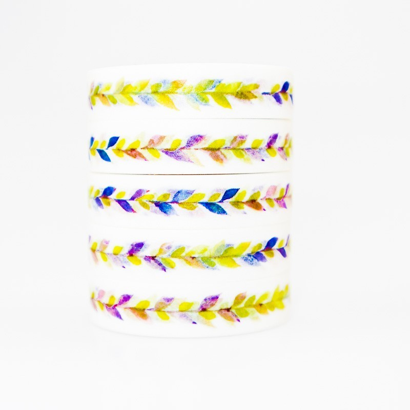 Simple Colored Small Leaves Washi Masking Tape Sticky Color Decorative Tape Set DIY Decoration Office Stationery Scrapbook 1PCS