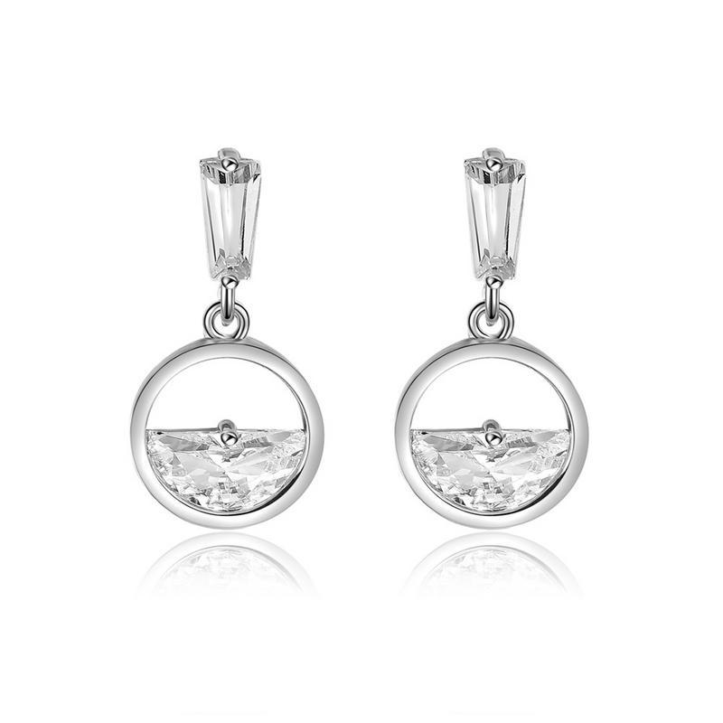 Nordic Style Geometric Round Zircon Earrings Art Design Ear Ornaments For Women Fashion Elegant