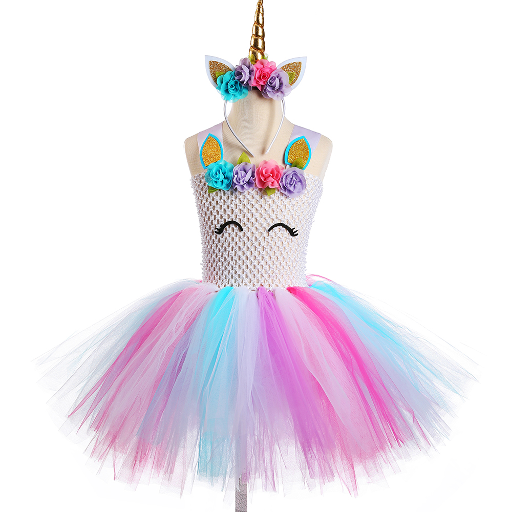 Kids Unicorn Dresses for Girls Birthday Princess Party Dress Child Tulle Flowers Girls Tutu Dress Gown Halloween Party Costume