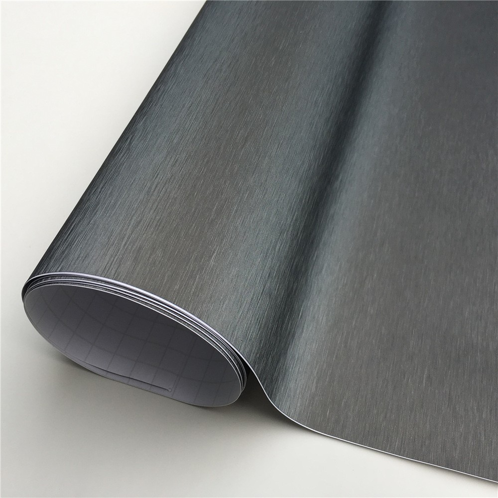 Grey Metallic Brushed Steel Vinyl Wrap Car Film Wrapping Foil Bubble Free Furniture Console Computer Laptop Phone Cover