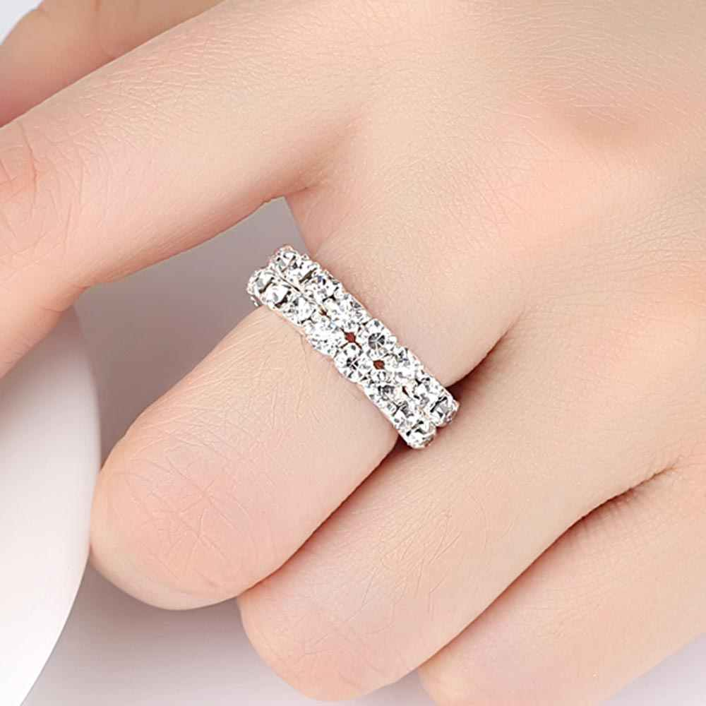 Women Rhinestone Elastic Band Ring Zinc Alloy Ring Fashion Geometric Design Pop Decoration Feminine Glamour Jewellery