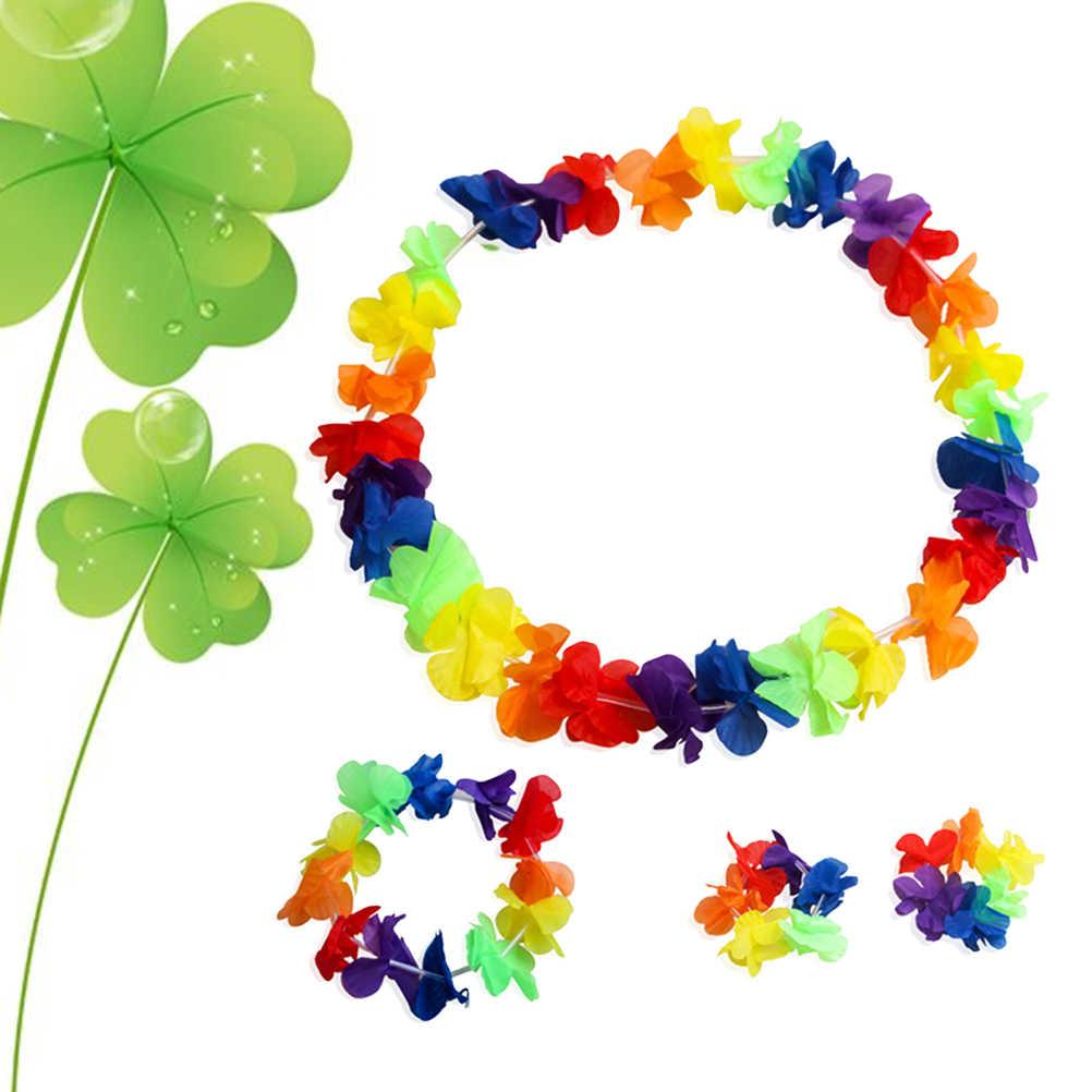 6 комплектов Гавайская гирлянда цветов браслеты повязка на голову ожерелье Цветочный венок гофрированный головной убор шелковая Цветочная Гирлянда вечерние пользу