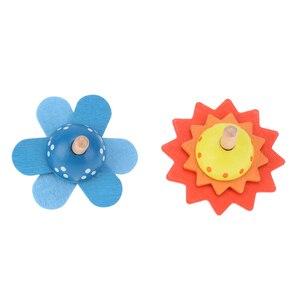 Image 4 - ילדים חינוכיים צעצועי עץ פרח לסובב תינוק עץ צעצועים לילדים סביבון לפתח מודיעין צעצועים חושי מתנה