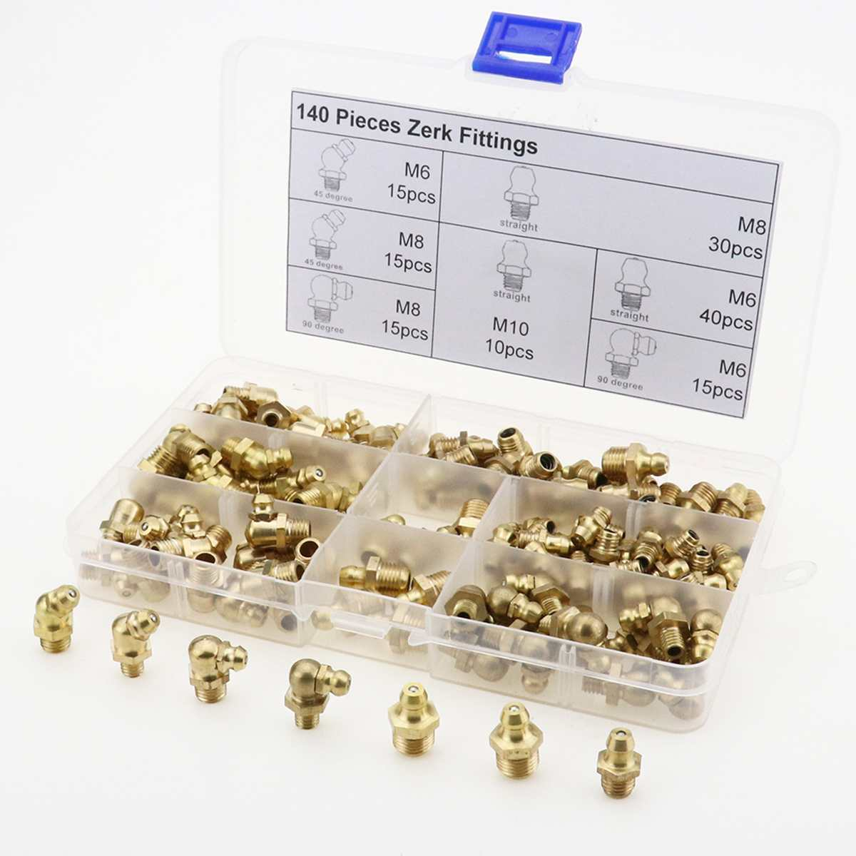 140pcs Grease Nipple Fitting M6/M8/M10 45° 90° 180° Metric Imperial Assorted Box Of Grease Nipples Brass Pipe Fittings