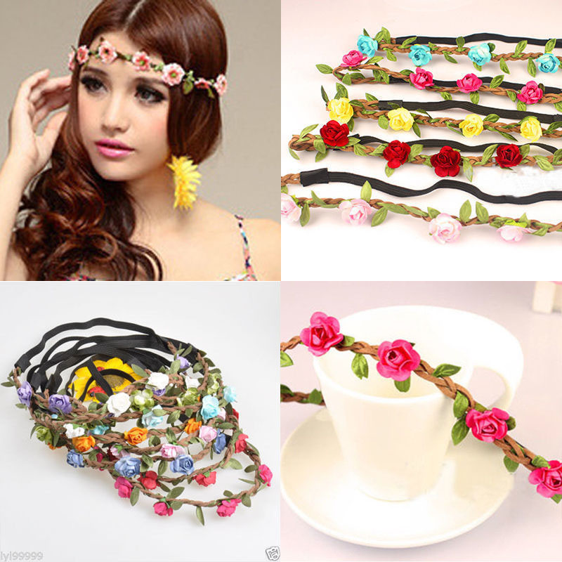 Boho Fabric Festival Wedding Party Hairbands Garland Forehead Hair Women Flower Head Band   Headwear