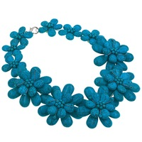 Fashion Women Chain Jewelry Blue Turquoises Flower Choker Necklace Jewelry Gift Party