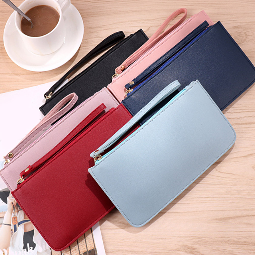 2019 Simple Designer Zipper Women Leather Slim Wallet Female Purse Clutch Thin Wristlet Phone Coin Credit Card Holder Dollar