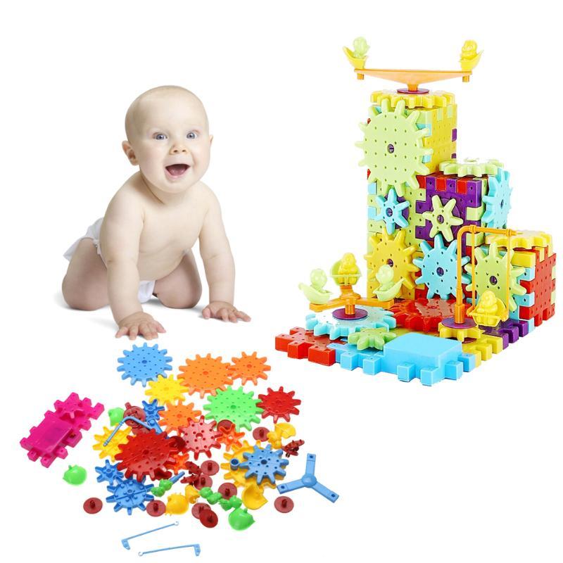 81 teile/satz kinder Kunststoff Gebäude Puzzle Spielzeug Kinder Pädagogisches Spielzeug Montiert Gebäude Elektrische Dreh Spielzeug Lieblings Geschenk