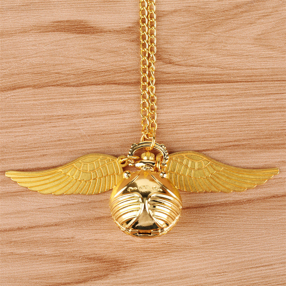 Golden Snitch Ball Pendant Pocket Watch Gifts for Kids Quartz Necklace Clock Lovely Cute Fob Pocket Clock reloj de bolsillo