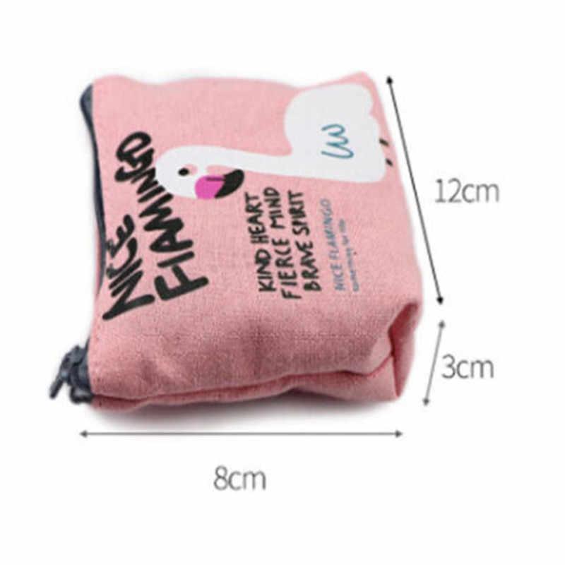 Sevimli Kadın Kız bozuk para cüzdanı Mini Flamingo Tuval Fermuarlı cüzdan bulucu kart tutucu Kılıfı