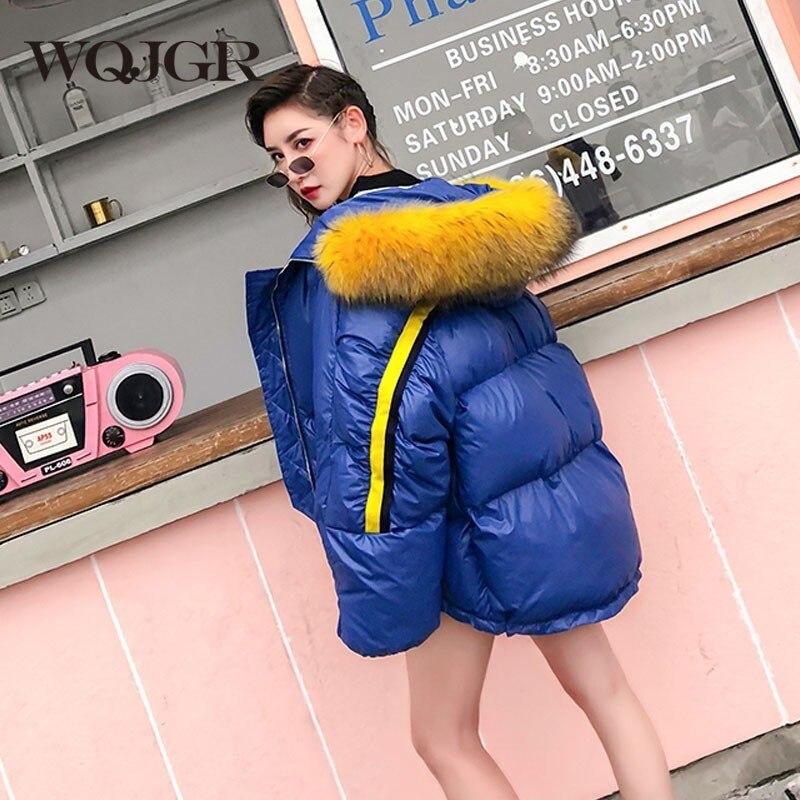 Col Wqjgr Jaune Longues Femmes Renard Lâche Streetwear De D'hiver À Veste black Manteau Blue Femme Fourrure Rayures Naturel Manches OwrOqAI7