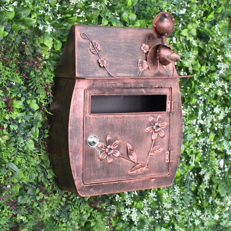 European Style Vintage handmade creative Mailbox Iron wall hanging letter box decoration crafts Garden decor mail box CW237