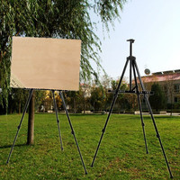 Adjustable Tripod Folding Easel Display Art Artist Sketch Painting Exhibition Silver Black with a Nylon Bag Aluminium Alloy