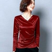 Spring T shirt Women Korean V neck Solid Color Slim T Shirt pullover Tops Long sleeved Ulzzang Short female Tshirt Clothes ZO003