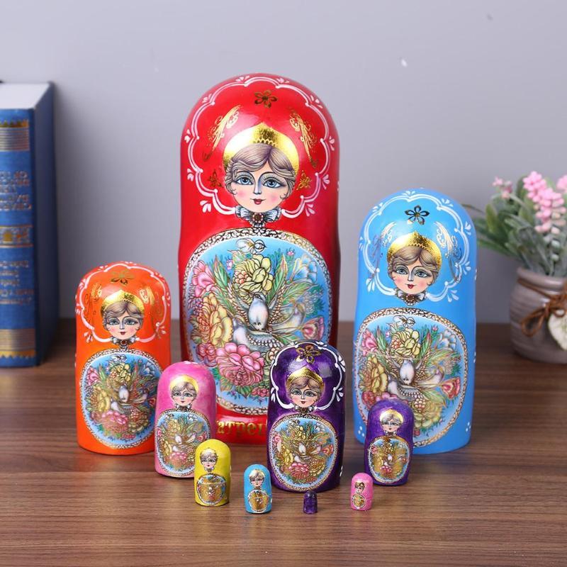 Nouvelle caractéristique traditionnelle russe Style ethnique unisexe poupées bébé jouet nidification poupées en bois russe Matryoshka poupée pour bébé