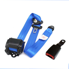 Blue 3 Point Retractable Car Safety Seat Belts Lap Belt Seatbelts for Auto Cars With Curved Rigid Buckle