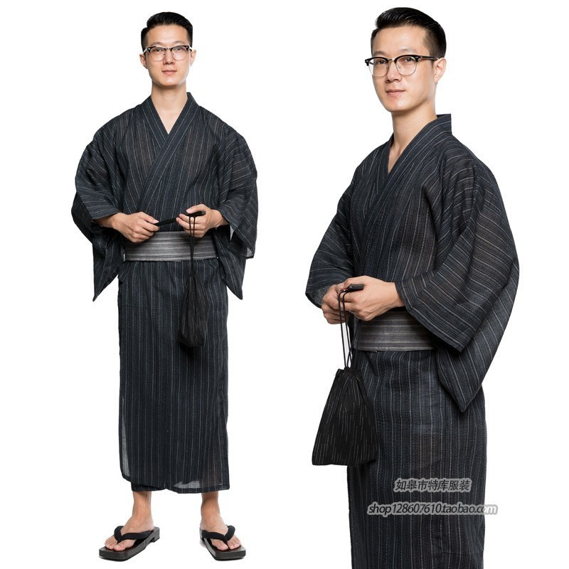 3pc/set Kimono Suit Traditional Japanese Male Kimono With Obi Belt Men's Cotton Bath Robe Yukata Men's Kimono Sleepwear A9090