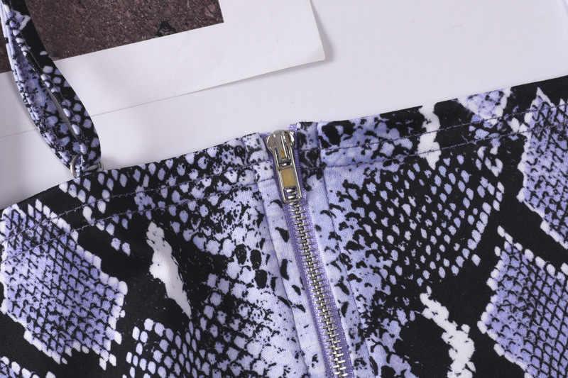 ثعبان طباعة الأرجواني مثير 2 قطعة مجموعة الصيف المرأة سستة السباغيتي حزام المحاصيل أعلى مضيئة السراويل سيدة عطلة مجموعات ملابس الأزياء