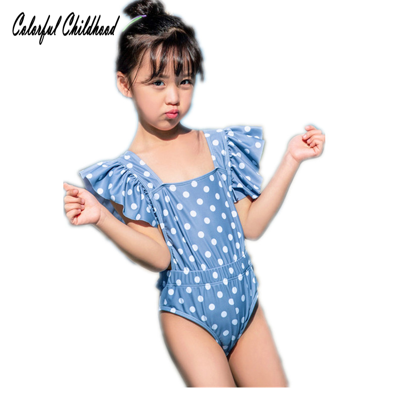 2019 New Baby Girl Swimwear Cute Dot Print Ruffle One Piece Bathing Suit Beach Romper Outfit