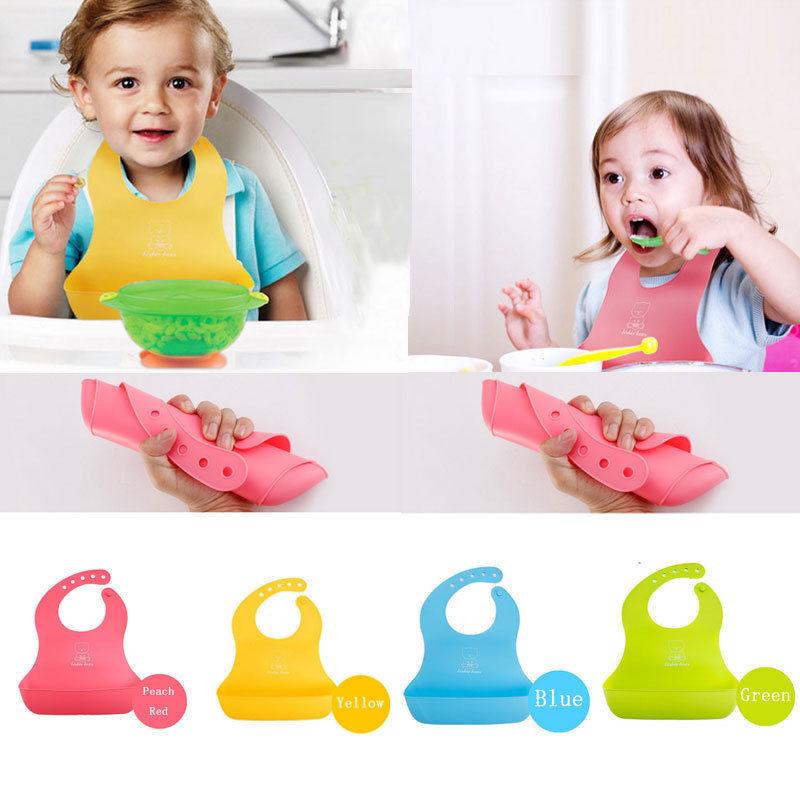 Silicone Baby Bibs Feeding Baby Saliva Towel Food Catcher Pocket Roll-up Apron~