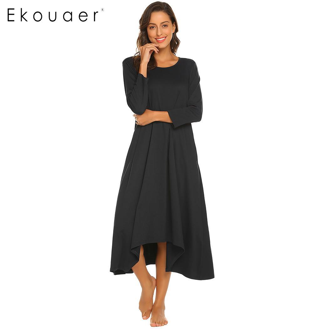 Ekouaer Long Nightgown Chemise Sleepshirts Women 3/4 Sleeve Side Porket Ankle Length Sleep Night Dress Sleepwear Plus Size Dress