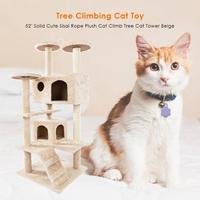 Climbing Frame Cat'S Tree Solid Sisal Rope Plush Cat Climb Trees Cat Toy Pet Cat Tower Climbing Frame Fun Play Jumping Toy