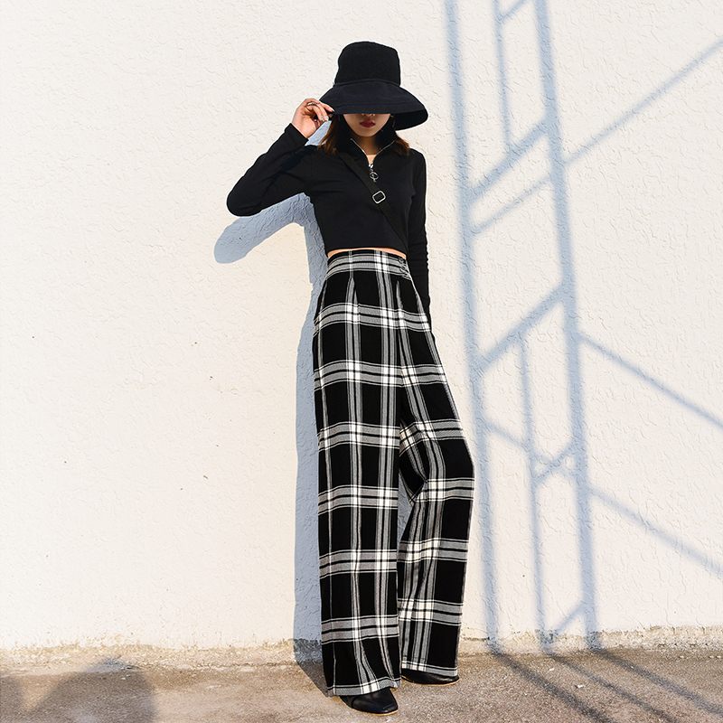 Élastique Femelle Taille Pantalon Élégant Haute Pantalons Lâche Femmes Harajuku Shengpalae Décontracté Hd120 Style Straigh Imprimer Plaid q7W8TU