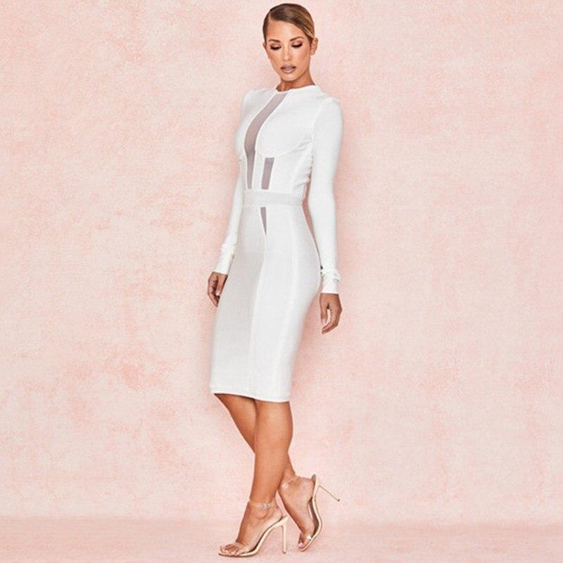 00a1c011fc9a6a Weiß Elegante 2019 Frühjahr Midi Verband Promi Langarm Sexy Vestidos Weiß  Club Kleid Frauen Party L5j34AR