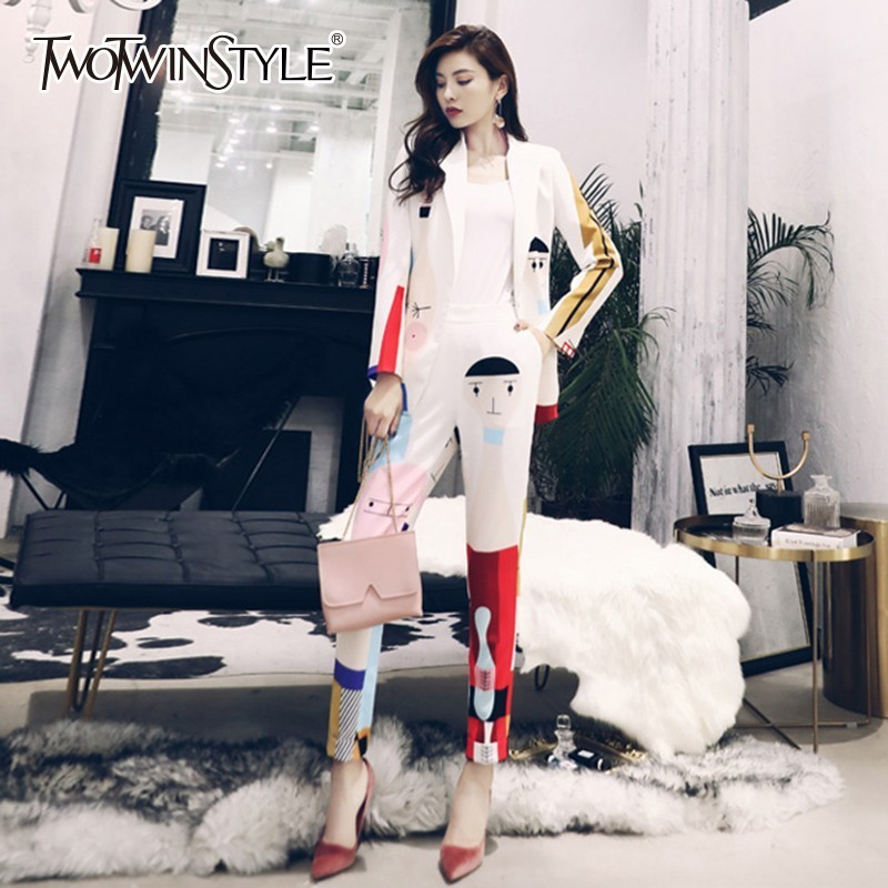TWOTWINSTYLE Print Cartoon Two Piece Set Long Sleeve Blazer Coat High Waist Elastic Ankle Length Pants