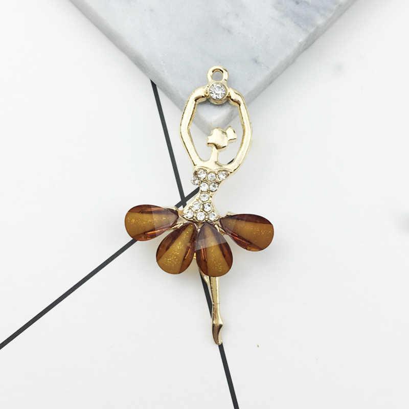 Bricolage Accessoires Clés Pendentif Zircon Valentines Cadeau 1 PC/2 pièces 14 Couleurs Résine Cristal Danse Fille Ballet Collier Accessoires