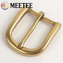 Meetee 30mm Width Pure Brass Belt Buckle for Men Ladies Belt Pin Buckle Head DIY Leather Craft Jean Clothing Accessories стоимость