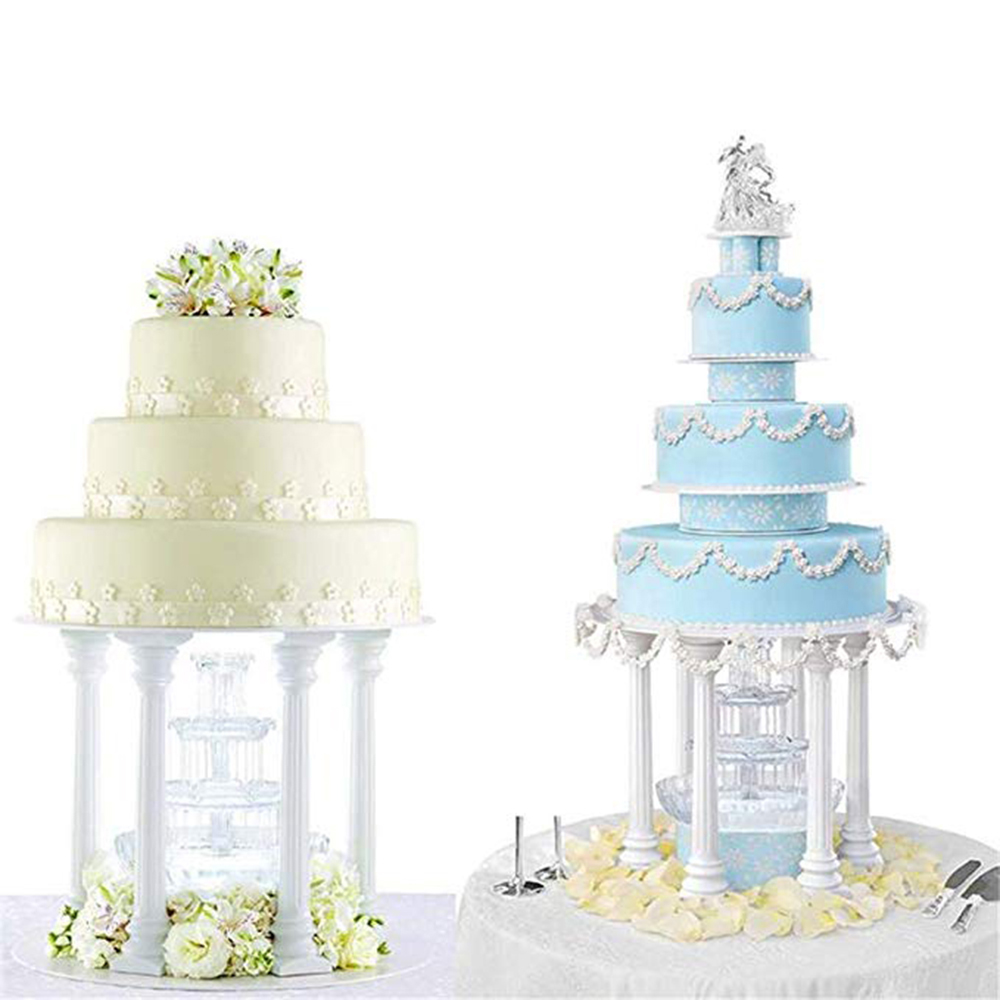 4pcs Pillars Wedding Cake Stands Cake Decorating Tools Multi-layered Roman Column Support Stand Decor 7.5cm 12.5cm 17cm