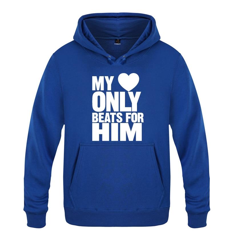 My Heart Only Beats for Him Valentine's Day Gift Hoodies Men 2018 Men's Pullover Fleece Hooded Sweatshirts