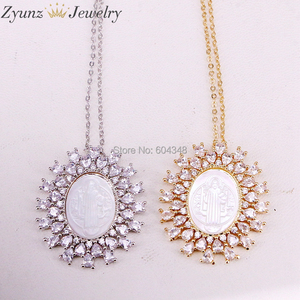 Image 3 - 5 Strands ZYZ323 8868 Gold /Silver Color Crystal Zircona Virgin Mary Pendant, Virgin Mary mother of pearl shell pendant Necklace