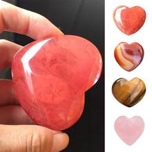 1Pc Natural Heart Shaped Stone Rose Quartz Striped Agate Crystal Carved Palm Love Healing Gemstones 2 Sizes #0117 Small Stone(China)