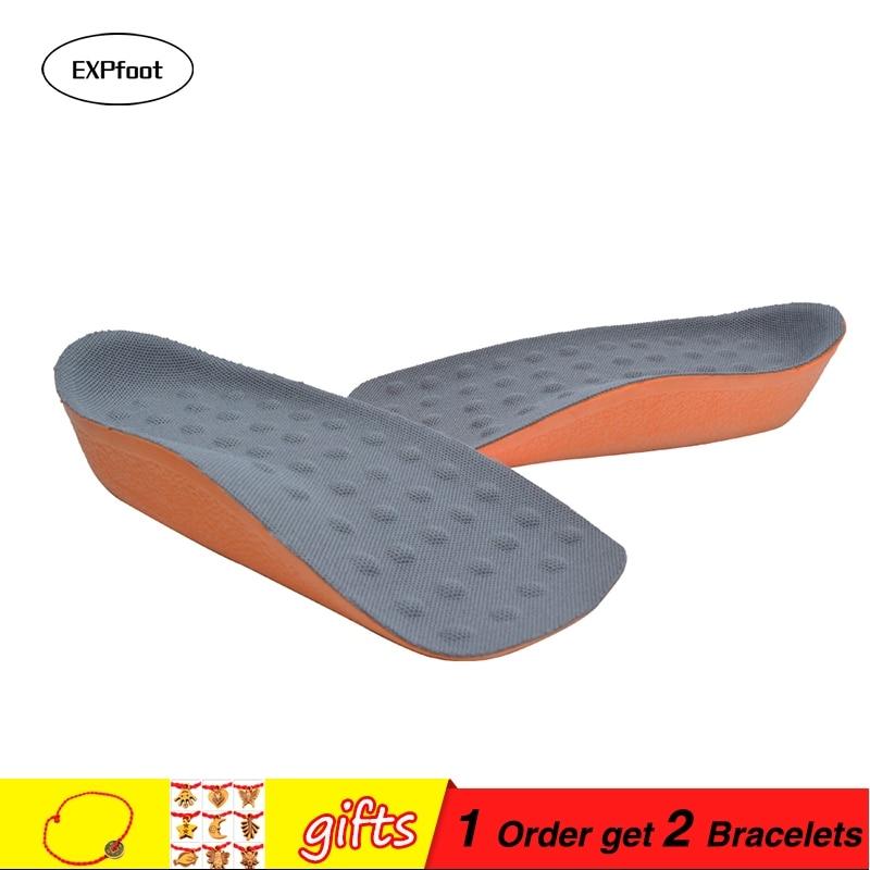 Hoge kwaliteit Mannen Vrouwen Orthopedische Hoogte Toename Inlegzolen Masseren Onzichtbaar Half Comfortabel Voet Pad Schoen Lift Voeten Verzorging