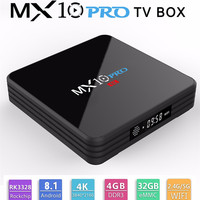 MX10 PRO Android 8.1 Smart TV BOX 4GB 32GB RK 3328 Quad Core 1.5GHz WiFi H.265 5G WIFI Set top box